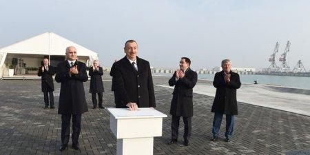 Prezident İlham Əliyev Bakı Beynəlxalq Dəniz Ticarət Limanı kompleksində RO-RO terminalının açılışında iştirak edib
