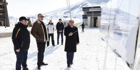 """Prezident İlham Əliyev Qusarda """"Şahdağ"""" qış-yay turizm kompleksinin növbəti inkişaf planları ilə tanış olub"""