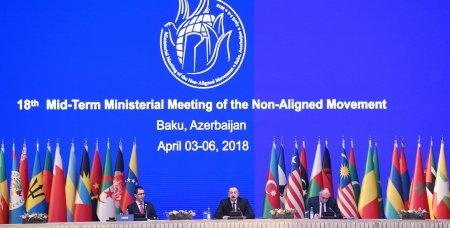Prezident İlham Əliyev Bakıda Qoşulmama Hərəkatının nazirlər konfransının açılış mərasimində iştirak edib