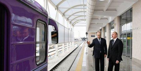"""Prezident yenidən qurulan """"Bakmil"""" stansiyasında"""